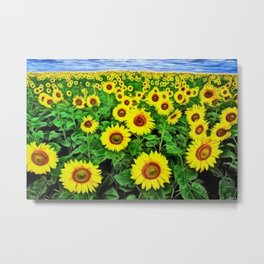 Sunflower Fields Forever, Landscape Painting by Jeanpaul Ferro Metal Print