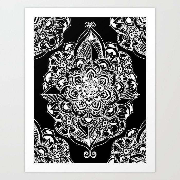 Black White Art Deco Mandala Print