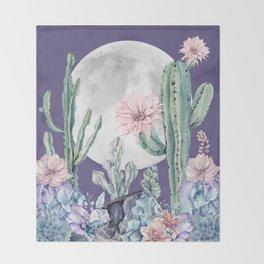 Desert Cactus Full Moon Succulent Garden on Purple Throw Blanket