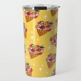 Watercolor - Strawberry Yogurt Ice Cream Cone Travel Mug