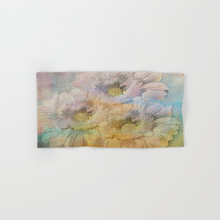 Soft Painted Rainbow Daisies Abstract Hand & Bath Towel on