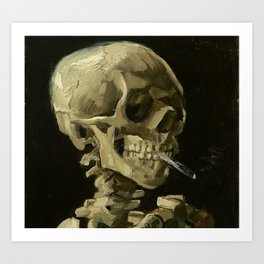Skeleton with Burning Cigarette Art Print