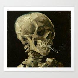 Skeleton with Burning Cigarette Kunstdrucke