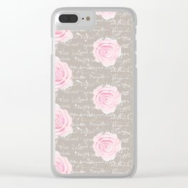 Watercolor roses on Taupe with French script Clear iPhone Case