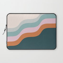 Abstract Diagonal Waves in Teal, Terracotta, and Pink Laptop Sleeve
