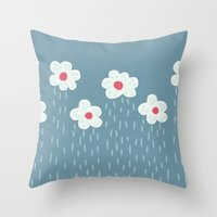 Rainy Flowery Clouds Throw Pillow