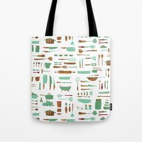 kitchen Tote Bags featuring Kitchen by Mathilde Ruau