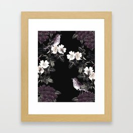 Blackberry Spring Garden Night - Birds and Bees on Black Framed Art Print