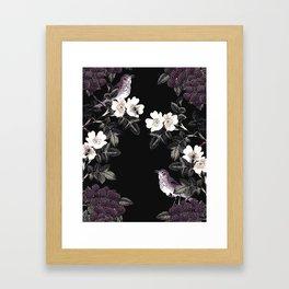 Blackberry Spring Garden Night - Birds and Bees on Black Framed Art Print
