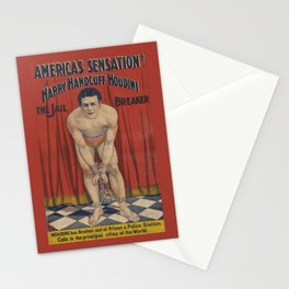 Harry Handcuff Houdini Magician Vintage Poster Stationery Cards