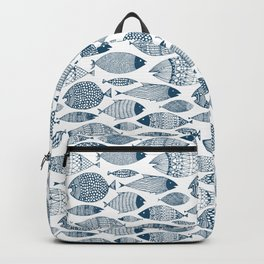 Blue Fish White Backpack