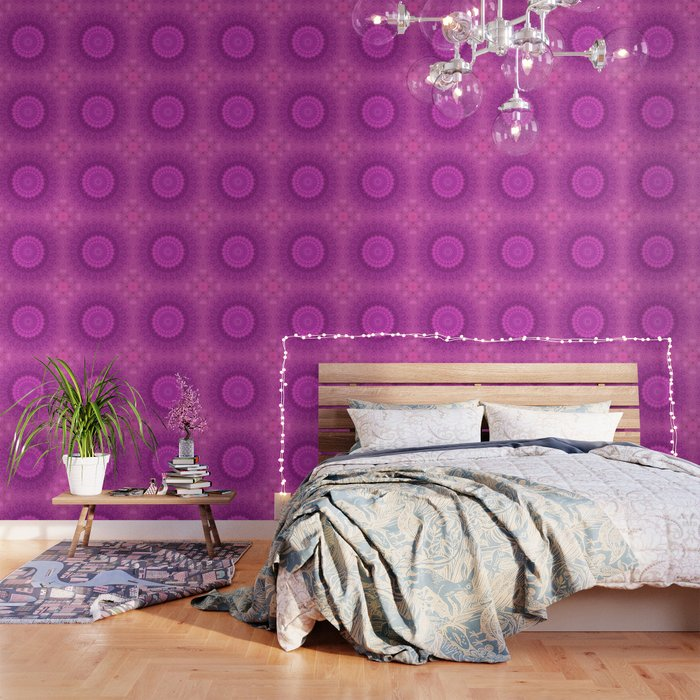 Sunflower Peacock Feather Bohemian Pattern \\ Aesthetic Vintage \\  Bright Fuchsia Pink Color Scheme Wallpaper