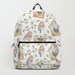 birdhouses, birds, hearts and flowers Backpack