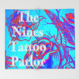 Design by Steph Darling at The Nines Tattoo and Art Parlor Be Bright Blue Rose  Throw Blanket