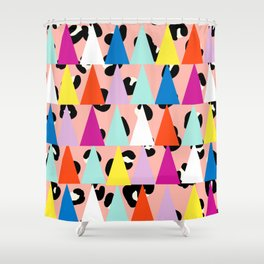 Triangle Animal Print in Blush Shower Curtain