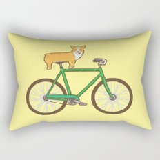 Corgi on a bike Rectangular Pillow
