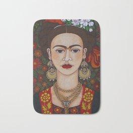 Frida with butterflies Bath Mat