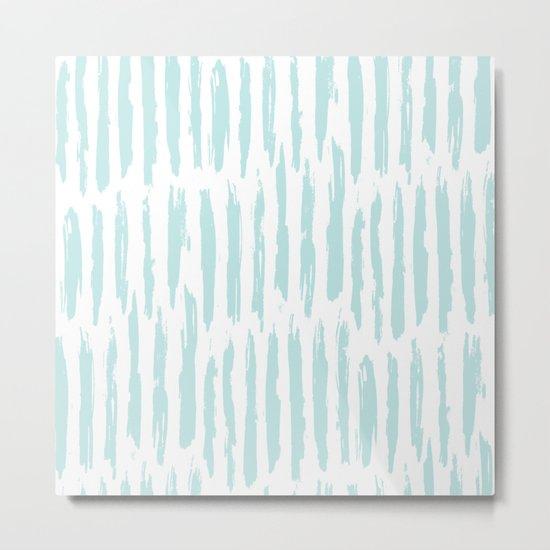 Vertical Dash Stripes Succulent Blue and White Metal Print