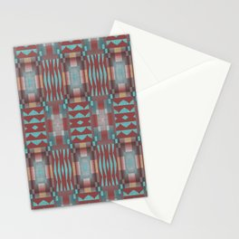 Coral Red Brown Aqua Turquoise Mosaic Pattern Stationery Cards