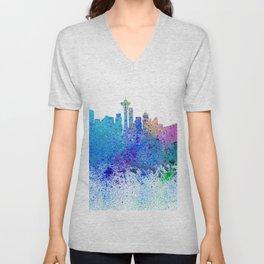 Seattle Skyline Silhouette Impressionistic Splash Unisex V-Neck
