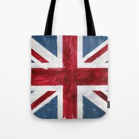 union jack Tote Bags featuring Union jack by Renato Verzaro