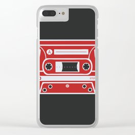 Retro Style Music Cassette in Red Clear iPhone Case