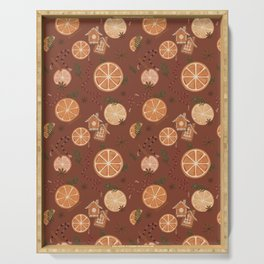 Citrus spiced holiday - muted red Serving Tray