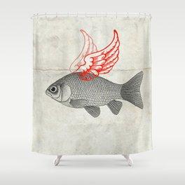 Flying Goldfish Shower Curtain
