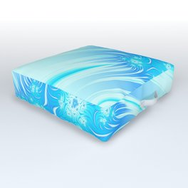 Abstract Christmas aqua blue white pattern. Frozen flowers Outdoor Floor Cushion