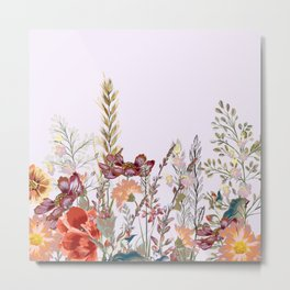 Spring field pattern with poppy and cosmos flowers Metal Print