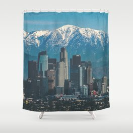 Los Angeles California in the Winter with San Gabriel Mountains Shower Curtain