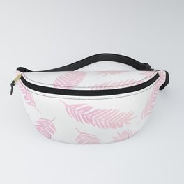 Pink Palm Leaves  |  White Background Fanny Pack