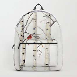 Birch Trees and Cardinal Backpack