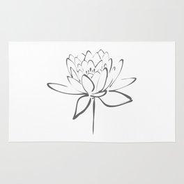 Lotus Blossom Calligraphy Smoke Grey Rug