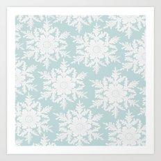 Wedgewood Blue Winter Christmas Snowflake Design Art Print