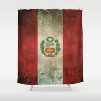 peru Shower Curtains featuring Old and Worn Distressed Vintage Flag of Peru by Jeff Bartels
