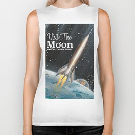 visit the moon vintage science fiction poster Biker Tank
