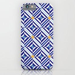 Blue Flowers // Diamond Pattern iPhone Case