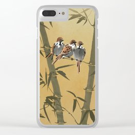 Three Sparrows In Bamboo Tree Clear iPhone Case