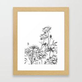 black and white peonies Framed Art Print