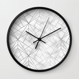 Geometric Silver Pattern on Marble Texture Wall Clock