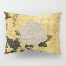 Vintage Japanese Floral Gold Leaf Screen With Wisteria and Peonies Pillow Sham