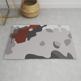 Abstract large camouflage art. Black, grey and maroon. Rug