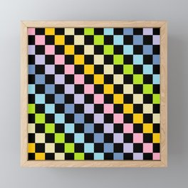 Checkered Pastel Rainbow Black Framed Mini Art Print