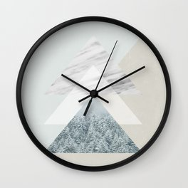 Snow into the forest Wall Clock
