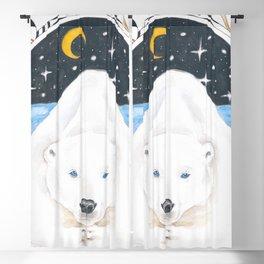 Polar Bear King Of North Watercolor Blackout Curtain