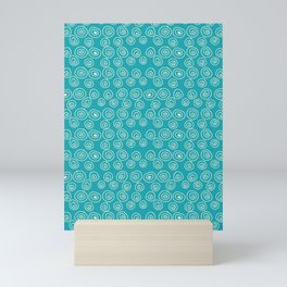 Blue Scribbles Pattern 01 Mini Art Print