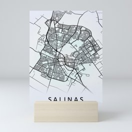 Salinas CA USA White City Map Mini Art Print