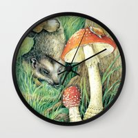 mushrooms Wall Clocks featuring Mushrooms by Natalie Berman