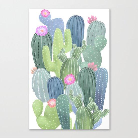 Cacti Love / Watercolor Cactus Pattern Canvas Print